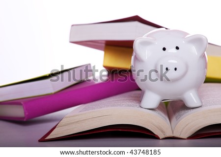 piggy bank over some colorful books (isolated on white) - stock photo