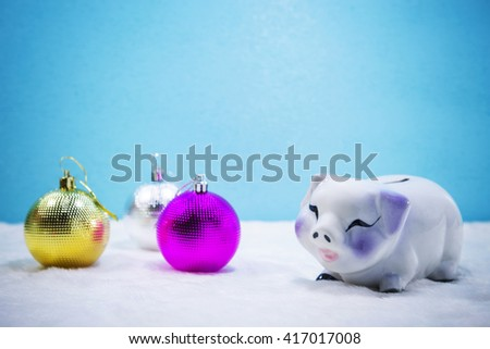 Piggy Bank, Pig, Savings, Piggy bank with copy space on blue background. - stock photo