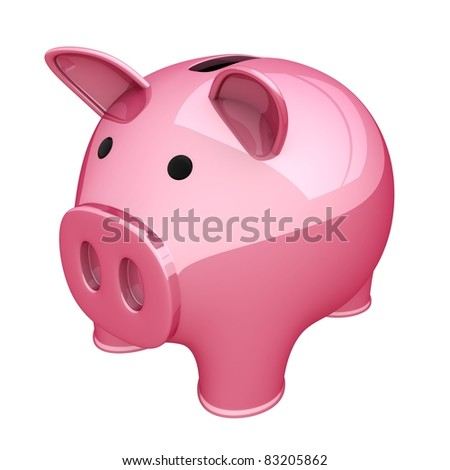 Piggy bank pink (done in 3d, isolated) - stock photo