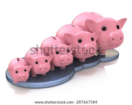 Piggy bank profit  - stock photo