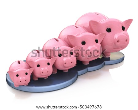 piggy bank profit in the design of the information related to finance and business. 3d illustration