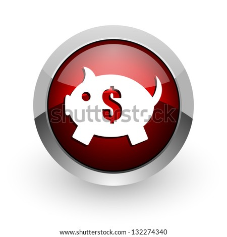 piggy bank red circle web glossy icon - stock photo