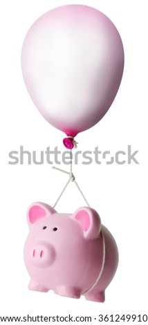 Piggy bank rising on a balloon isolated on a white background - stock photo