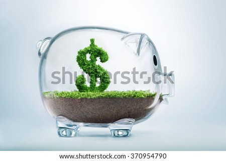Piggy bank savings concept with grass growing in shape of US dollar  - stock photo