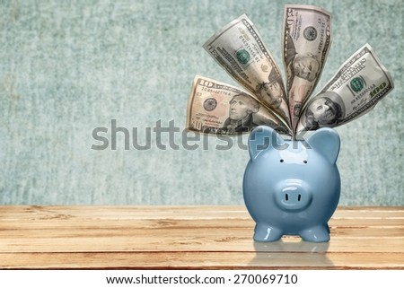 Piggy Bank, Savings, Currency. - stock photo