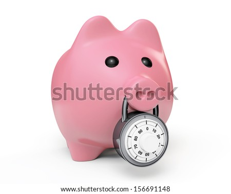 Piggy bank secured with combination lock on a white background