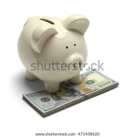 Piggy Bank Standing on Cash Money Isolated on White Background.