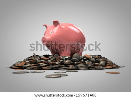 piggy bank standing on coins - stock photo