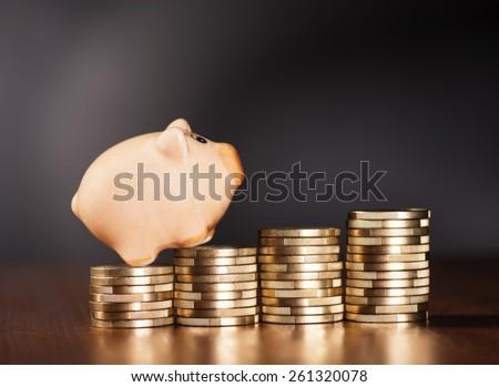 Piggy bank standing on piles of coins. - stock photo