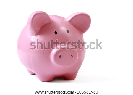 Piggy bank style money box isolated on a white background.