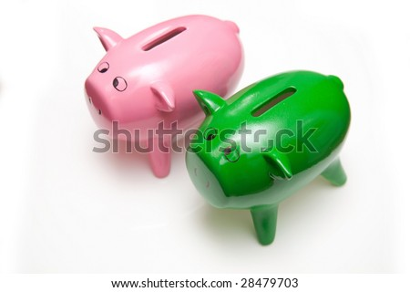 Piggy bank style money box isolated on a white studio background.