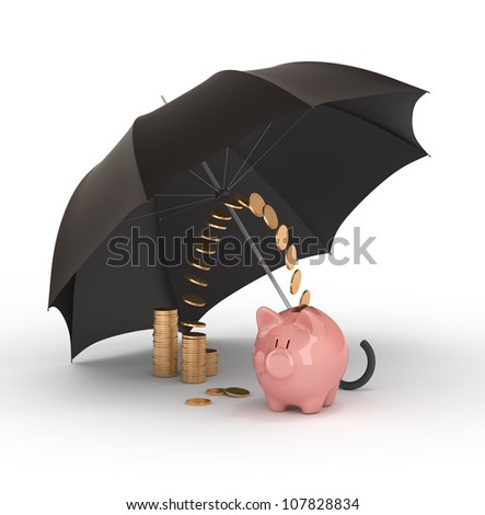 Piggy bank under umbrella. Protection of savings. - stock photo