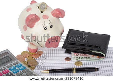 Piggy bank, wallet with euro coins and banknotes, calculator and pen on paper with financial calculations and white background - stock photo