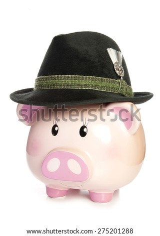 piggy bank wearing bavarian beer hat cutout - stock photo