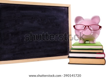 Piggy bank wearing glasses, college savings fund concept, front view - stock photo