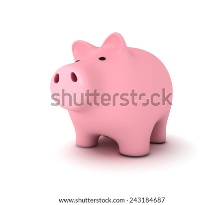 Piggy bank, white background