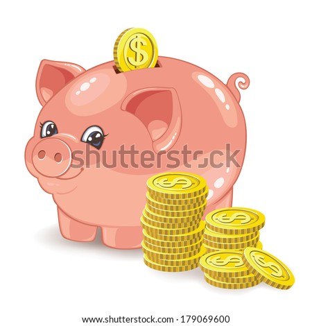 Piggy bank with a stack of coins - stock photo