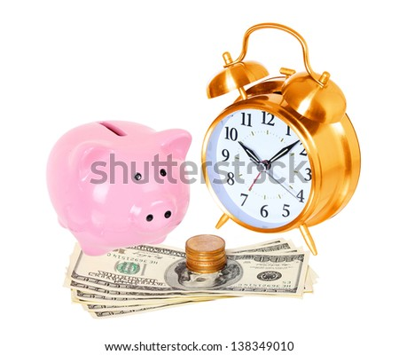 Piggy bank with alarm clock and money isolated on a white studio background . concept . style money box - stock photo