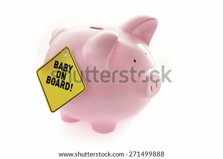 Piggy Bank with Baby on Board on White Background - stock photo