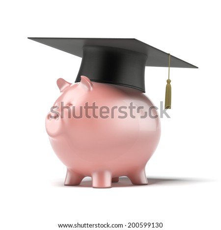 Piggy Bank with Black Graduation Hat isolated on a white background.  - stock photo