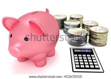 Piggy bank with calculator and coins, 3d-illustration