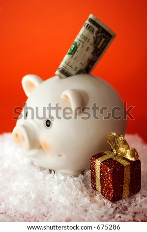 Piggy Bank with Christmas theme (vertical)
