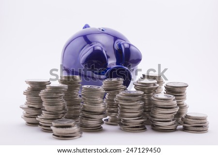 Piggy bank with coins - stock photo