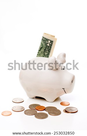 piggy Bank with coins and the dollar bill - stock photo