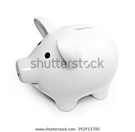 piggy bank with copy space, isolated on white