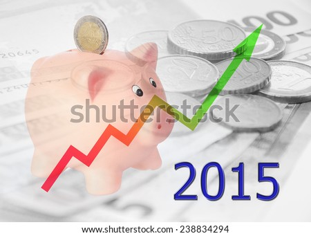 piggy bank with diagram 2015 - stock photo