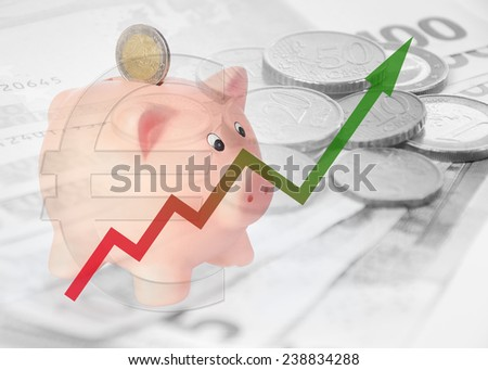 piggy bank with diagram and euro symbol - stock photo