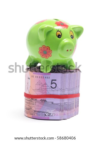 Piggy Bank with Dollar Notes on White Background