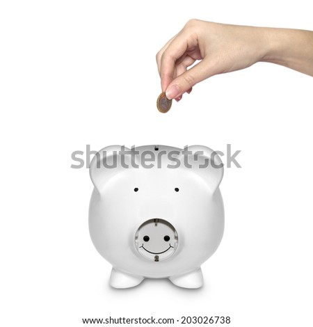 piggy bank with electric plug as a symbol as a symbol to save energy isolated on white background - stock photo