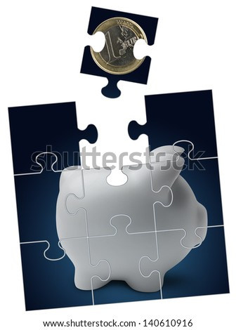 Piggy bank with euro coin into puzzle