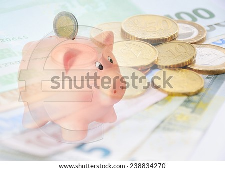 piggy bank with euro symbol and background - stock photo