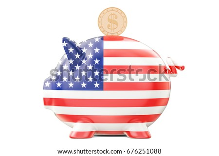 Piggy bank with flag of USA and golden dollar coin. Investments and business concept, 3D rendering