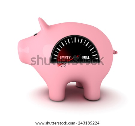 Piggy bank with fuel gauge, white background - stock photo