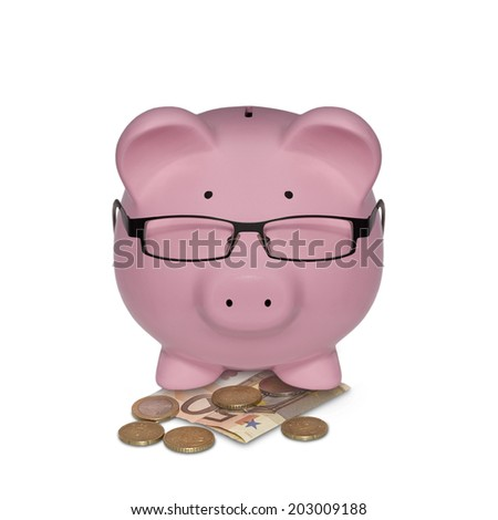 Piggy bank with glasses on money illustrated as a manager isolated on white background - stock photo