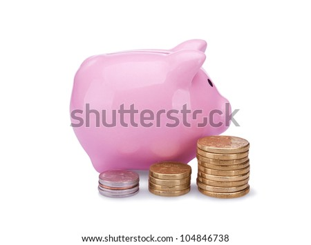 piggy bank with golden and silver coins isolated on white background - stock photo