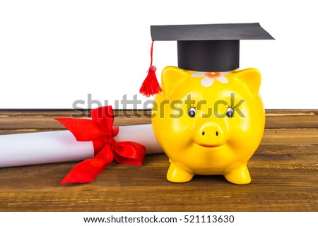 piggy bank grad hat diploma stock photo shutterstock piggy bank grad hat and diploma