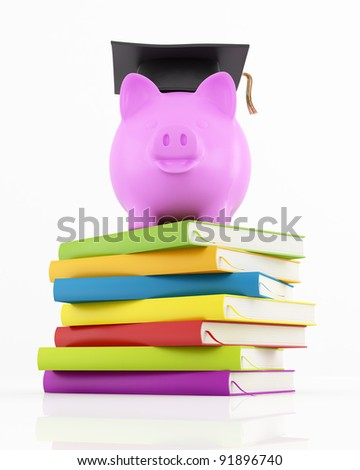 piggy bank with graduation cap on stack of colorful books on white - rendering - stock photo