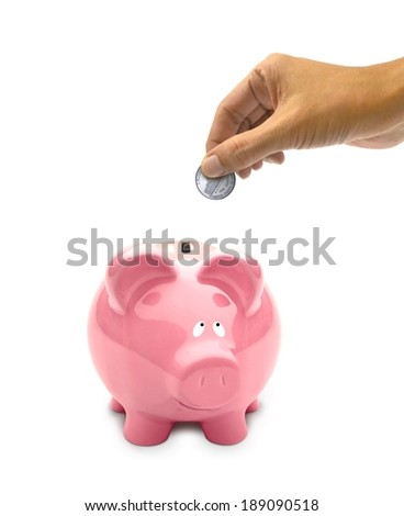 Piggy Bank with Hand Holding a Coin