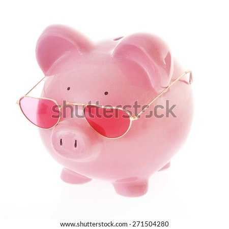 Piggy Bank with heart sunglasses on White Background