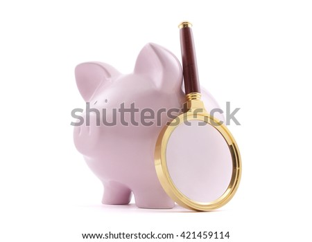 Piggy bank with magnifying glass. Clipping path included.  - stock photo