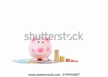 piggy bank with money coins and bills