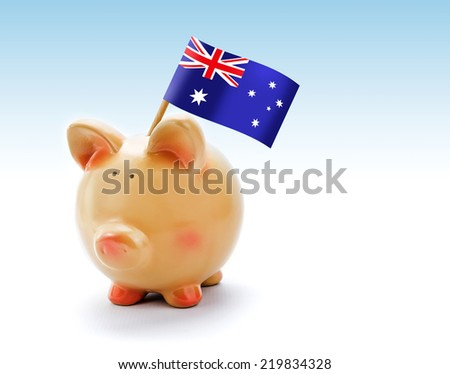 Piggy bank with national flag of Australia - stock photo