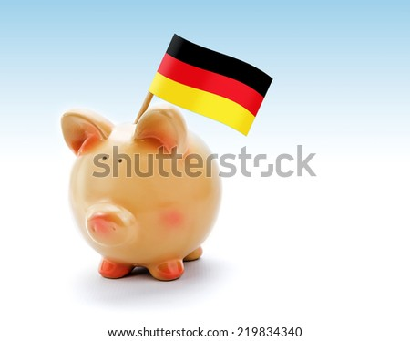 Piggy bank with national flag of Germany - stock photo