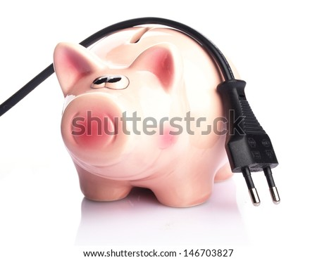 piggy bank with power plug on white background