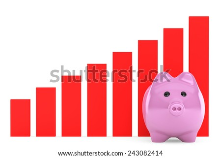 Piggy Bank with Red Graphic on a white background - stock photo