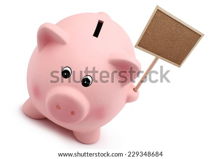 piggy bank with sign isolated on white background - stock photo